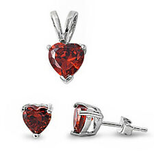 Red Garnet Heart .925 Sterling Silver Pendant & Earrings Set