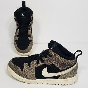 Nike Air Jordan 1 Mid SE TD Cheetah Print Toddler Sneakers Size 10C BQ6933-021