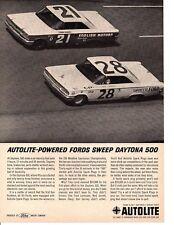 1963 DAYTONA 500 / TINY LUND WINNER (FORD GALAXIE) ~ ORIGINAL AUTOLITE AD