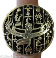 Finger Ring Hieroglyphic Isis winged wing Ankh Scarab Pharaoh Hand Engraved 105