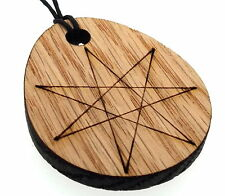 Oak Seven Pointed Elven Septagram Reclaimed Wooden Laser Cut Heptagram Pendant