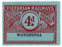 (I.B) Australia - Victoria Railways : Parcels Stamp 4d (Watchupga)