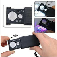 Foldable 30X/60X Double Lenses Jewelry Magnifier with LED UV Lights Glass Loupe