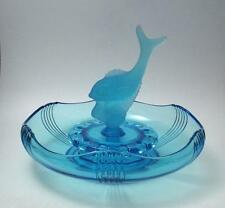 ART DECO BLUE DEPRESSION GLASS FLOAT BOWL WITH FROSTED FISH CENTREPIECE & FROG