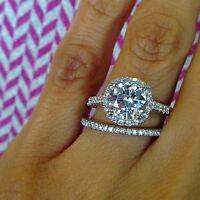 14k WG 2.20 ct Round Cut Pave Diamond Engagement Bridal Set F, VS2 GIA Certified