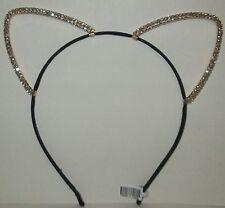 Large Silver Tone Kitty Cat Ears Headband Double Row of Rhinestones