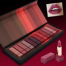 12Pcs/Set Pro Matte Moisturizing Lipstick Makeup Waterproof Lip Gloss Cosmetics