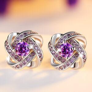 Purple Zircon Flower Earrings Women Ear Stud Wedding Party Jewelry Gift