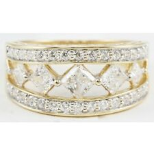 14k Yellow Gold Round Princess Square CZ Wide Band Fashion Ring Size 8