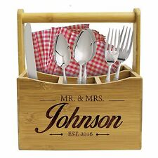 Custom Engraved Kitchen Utensil Holder - Patio, Picnic, Home Silverware Caddy