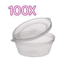 100X 2oz Clear Plastic Containers Tubs with Attached Lids Food Safe Takeaway