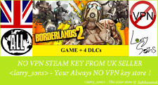 Borderlands 2 + 4 DLCs Steam key NO VPN Region Free UK Seller