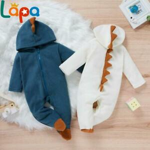 Newborn Baby Boys Girls Dinosaur Hooded Romper Jumpsuit Outfits Set Clothes US