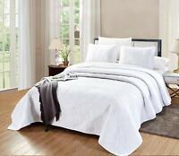 Savannah Quilt White OverSize CAL KING Microfiber Coverlet Bedding Bedspread