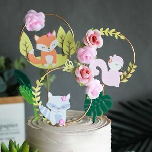 Cake Toppers Fox Squirrel Flower Cake Decorations Child Birthday Party Supplies