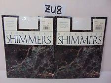 LOT OF 2 VINTAGE BERKSHIRE PANTYHOSE HOSIERY SHIMMERS WHITE SZ. 1 ULTRA SHEER