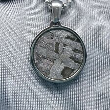 Meteorite pendant round seymchan Widmanstatten necklace jewelry mineral star