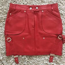 CHRISTIAN DIOR Red Lambskin Leather Skirt with CD Buckles FR 40 UK 12