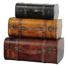 Vintiquewise Three Coloured Vintage Style Luggage Suitcase Antique Brown Set 3
