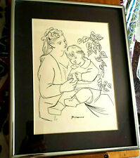 "PICASSO ""MOTHER AND CHILD"" ORIGINAL SILKSCREEN framed black & white 11X14"" print"