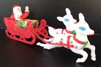 """Vintage Christmas Santa & Reindeer Pulling Sleigh Plastic Blow Mold 8"""""""