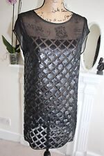 BNWOT All Saints Black Sequin Mesh Dress 8 10 XS Diamond Lattice Sheer -60%