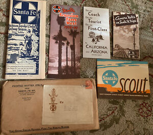 Lot SANTA FE RAILWAY Train TRIP Scout Time Table Fares Envelope Travel Brochure