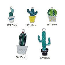 5 pcs Enamel Plated Silver Metal Cactus Multi-style Pendants Charms Findings DIY