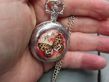 women butterfly believe in butterflies necklace pendant pocket watch silver tone