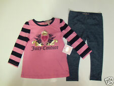 NWT Girls Juicy Couture Scotty Dog Crown Tunic Shirt Leggings Outfit Set 18-24M