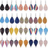 Hot Women Bling Leaf Teardrop Leather Earrings Ear Stud Hook Drop Dangle Jewelry