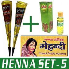 Henna-Set 5 (2x Golecha Henna Kegel SCHWARZ & ROT + Henna Öl + Vorlagenheft)