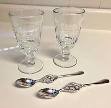 2 GENUINE LA ROCHERE PONTARLIER ABSINTHE GLASSES & 2 AUTHENTIC HEARTS SPOONS