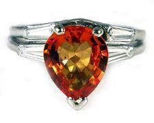 ANTIQUE 3.5CT PADPARADSCHA SAPPHIRE DIAMOND ENGAGEMENT RING SET PLATINUM Women