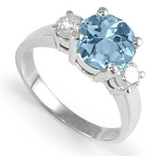 DIAMOND AND AQUAMARINE ENGAGEMENT RING 14K WHITE GOLD #R983