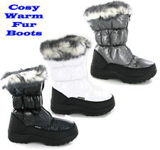Womens Winter Warm Fur Lined Yetti Snow Ski Style Moon Fashion Boots Size 3-9 UK