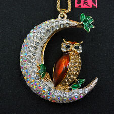 Betsey Johnson Crystal Yellow Cute Owl Moon Rhinestone Pendant Women's Necklace