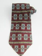 Christian Dior Cravate Necktie Tie Imported Silk Classic Pattern Burgundy Navy