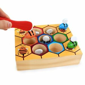 Kids Preschool Wooden Bee Clip Out Toy Children Montessori Educational Toys Gift