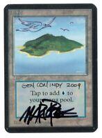 Island Version 2 SIGNED Altered Mark Poole - ALPHA Edition - Old School - MTG