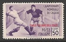 Dodecaneso è. SG130 1934 Coppa del Mondo di Calcio 50 C MTD Nuovo di zecca