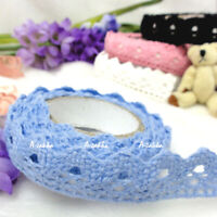 Roll Adhesive Crafts Removable Deco Sticker Single Trim Lace Fabric Tape BLUE