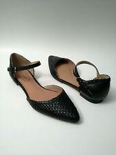 CORSO COMO Merla Flats Woven Leather Detailing Black Ankle Strap Size 7.5 / 38.5