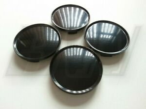 63MM CENTRE CAPS GLOSS BLACK FINISH UNIVERSAL FITTING 56mm FACE