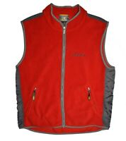 ROOTS Canada Vintage Fleece Vest Mens Size L Red Gray Large SPELLOUT Back Hiking