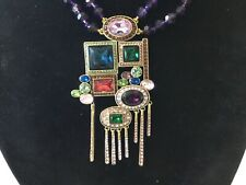 SIGN HEIDI DAUS DOUBLE STRAND AMYTHIS & MULTI COLOR CRYSTAL ART DECO NECKLACE NR