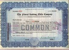 The Federal Knitting Mills Company Stock Certificate Cleveland Ohio