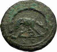 MARCUS AURELIUS Authentic Ancient Rome WOLF CAVE ROMULUS REMUS Roman Coin i76942
