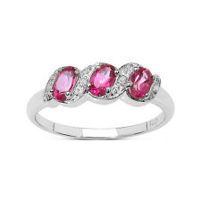 9CT WHITE GOLD 0.25ct PINK TOPAZ & DIAMOND ETERNITY ENGAGEMENT SIZE S L to T