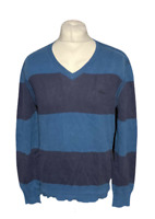 Levi Strauss Men's Casual Jumper Blue Striped V Neck 100% Cotton